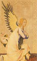 Simone Martini~Angel Gabriel (tempera and gold lea