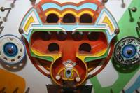 close-up of an old Pachinko machine