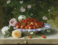 William Hammer~Strawberries in a Blue and White Bu