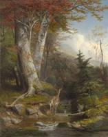 William Holbrook Beard~Mountain Stream and Deer, 1