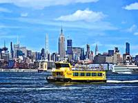 Manhattan NY - Ferry In Front Manhattan Skyline