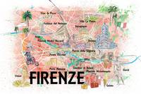 Florence Italy Illustrated Map with Roads Landmark