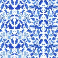 Portuguese Blue Azulejos Floral Leaves Tiles