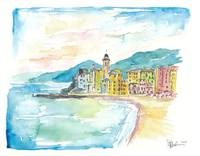 Camogli Beach with Historic Italian Town Center