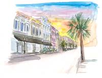Charleston Street Scene With Sunset In South Carol