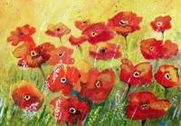 Bright and Sunny - Landscape with Red Poppys