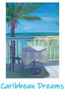 Caribbean Dreams Retro Poster - Seaview Cafe Table