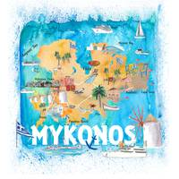 Mykonos Greece Illustrated Map with Main Roads Lan