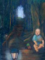 A baby in the forest