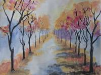 Water painting of a alley of autum trees