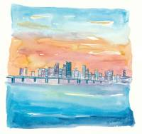 Miami Florida Watercolor Skyline and Causeway