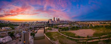 Cleveland Sunset Pano from The Foundry by Cody Yor