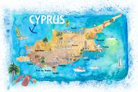 Cyprus_Illustrated_Map_with_Main Roads_Landmarks_a