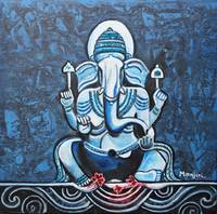 Vignaharta Ganesha hindu god india texture blue