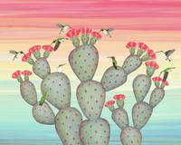 ruby throated hummingbirds & prickly pear cactus