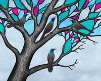grackles in the stained glass tree