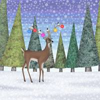 Christmas deer and chickadees