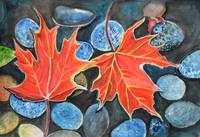 Fall Autumn Leaves on pebbles watercolor landscape