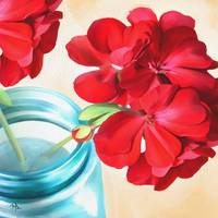 Geraniums In a Ball Jar