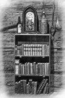 Black And White Log Cabin Bookcase Sketched