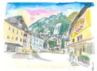 Hallstatt Romantic Market Place with Mountain and