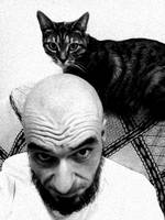 Bald man and his pussycat
