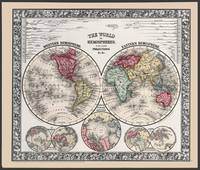 World Map in Hemispheres from 1863 Mitchells Atlas