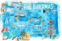 The Bahamas Illustrated Map with Main Roads Landma