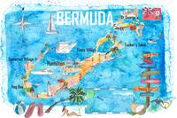 Bermuda Island Illustrated Travel Poster Favorite
