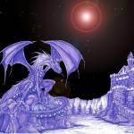 """Dragon On Island black background"" by robertsmuin"
