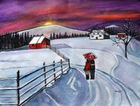 Christmas romance in the snow acrylic winter paint