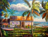 Fishing Bait Shop Oil Painting