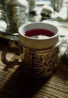 Trukish coffe cup with red kahwa (Tea)