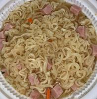 Noodles and Cubed Lunch Meat