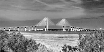 Sidney Lanier Bridge at Brunswick, GA in B&W