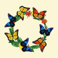 Butterflies on wreath