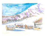 Rustic Alpine Mountains Huts in the Snow