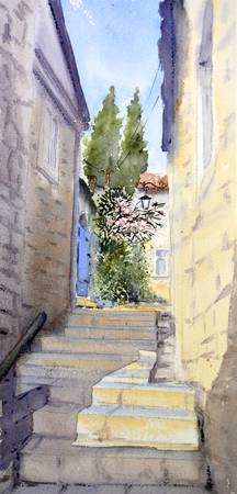 Montenegro #18 Stairs and flowers 17x36 cm 2018