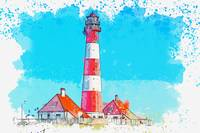 Lighthouse 2, watercolor, ca 2020 by Ahmet Asar