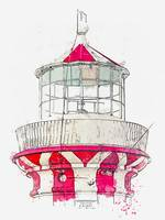 Lighthouse 9, watercolor, ca 2020 by Ahmet Asar
