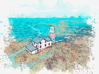 Lighthouse 19, watercolor, ca 2020 by Ahmet Asar