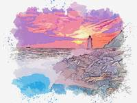 Lighthouse During Sunset 2, watercolor, ca 2020 by