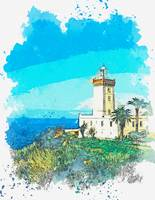 Lighthouse Near Ouled Yaaakoub, Morocco, watercolo