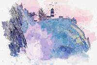 Lighthouse on the cliff, watercolor, ca 2020 by Ah