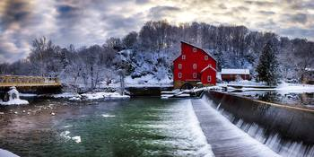 Winter Landscape with a Red Grist Mill, Clinton, N