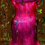 """Rose Red Bottle Painted on Paper Sack"" by Lenora"