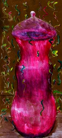 Rose Red Bottle Painted on Paper Sack