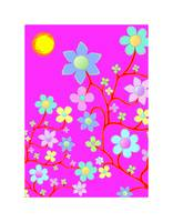 Bling Florals 7 (flowers, sun, pink, blue)