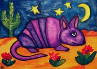Purple Armadillo in the Desert Night