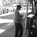 """Saxophonist in San Francisco"" by PommeLo"